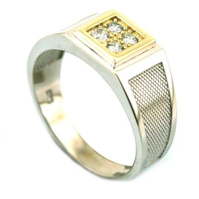 kuyumcunuznet - Altın Beyaz Şovalye Erkek Yüzüğü (14 Ayar)