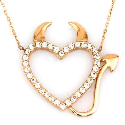 kuyumcunuznet - Altın Boynuzlu Kalp Kolye (14 Ayar)