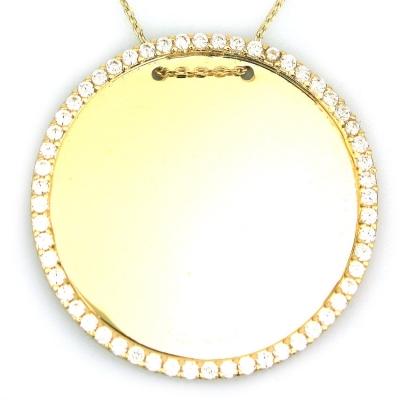 kuyumcunuznet - Altın Büyük taşlı Plaka Kolye (14 Ayar)