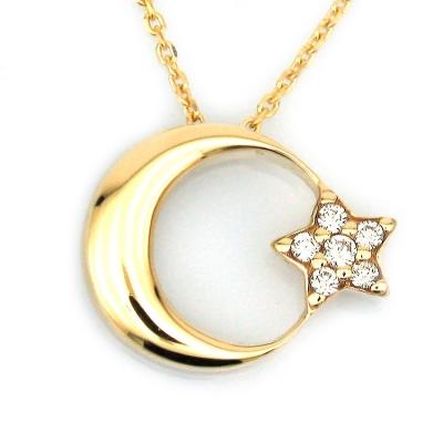 kuyumcunuznet - Altın Gösterişli Taşlı Türk Bayrağı Ay Yıldız Kolye (14 Ayar)