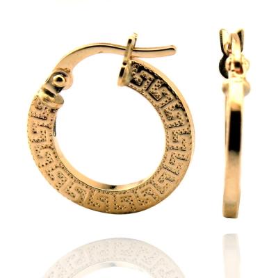 Altın Grek Desenli Halka Küpe (14 Ayar) Orta