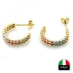 Altın İtalyan İki Sıra Taşsız Küpe (14 Ayar) - Thumbnail