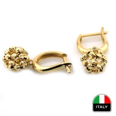 - Altın İtalyan Taşsız Sallantılı Top Küpe (14 Ayar)