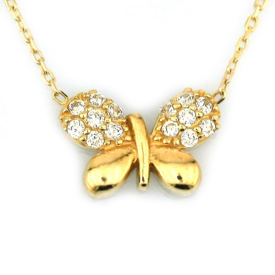 - Altın Küçük Taşlı Kelebek Kolye (14 Ayar)
