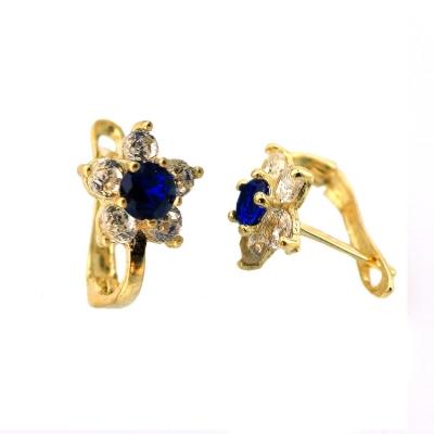 kuyumcunuznet - Altın Mavi Taşlı Çiçekli Zirkon Çocuk Küpesi (14 Ayar)