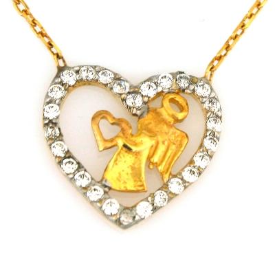 kuyumcunuznet - Altın Melekli Kalp Kolye (8 Ayar)