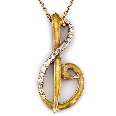 kuyumcunuznet - Altın Mineli Elif Vav Kolye (14 Ayar)