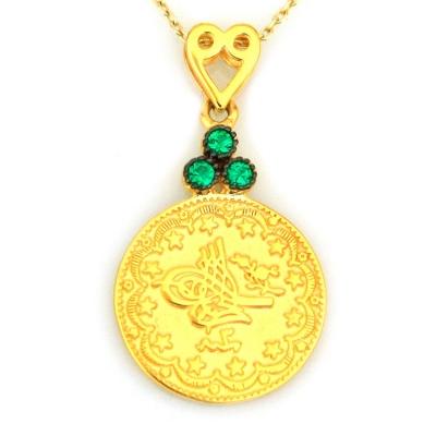 kuyumcunuznet - Altın Osmanlı Tuğralı Yeşil Taşlı Kolye (14 Ayar)
