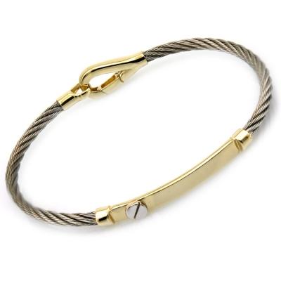 kuyumcunuznet - Altın Plakalı Çelikli Erkek Kelepçesi (14 Ayar)