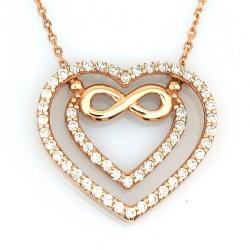 Altın Sonsuzluk Kalp Sevgili Kolyesi (14 Ayar) - Thumbnail