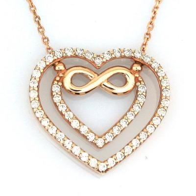 - Altın Sonsuzluk Kalp Sevgili Kolyesi (14 Ayar)