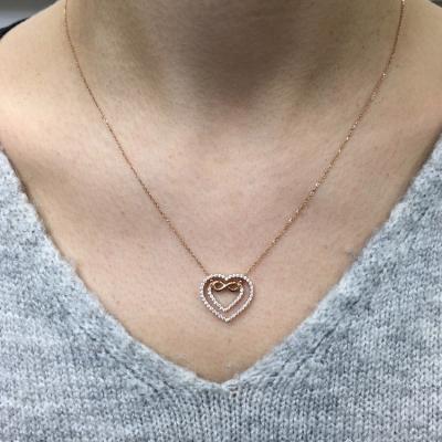 Altın Sonsuzluk Kalp Sevgili Kolyesi (14 Ayar)