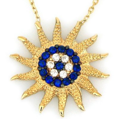 kuyumcunuznet - Altın Sosyete Gözlü Güneş Kolye (14 Ayar)