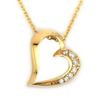 - Altın Taşlı Kalp Kolye (14 Ayar)