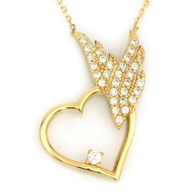 - Altın Taşlı Kalpli Kanatlı Altın Kolye (14 Ayar)