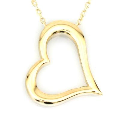 - Altın Taşsız Kalp Kolye (8 Ayar)