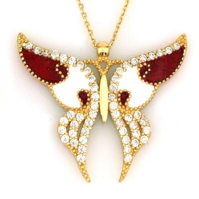 - Büyük Bordo Mineli Altın Kelebek Kolye (14 Ayar)