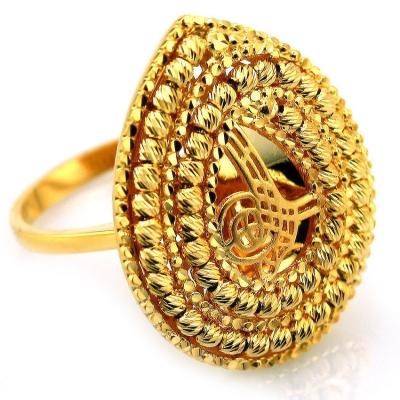 - Büyük El İşi Osmanlı Tuğralı Altın Yüzük (14 Ayar)