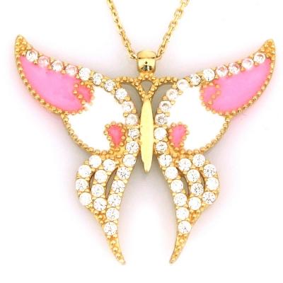 kuyumcunuznet - Büyük Pembe Mineli Altın Kelebek Kolye (14 Ayar)