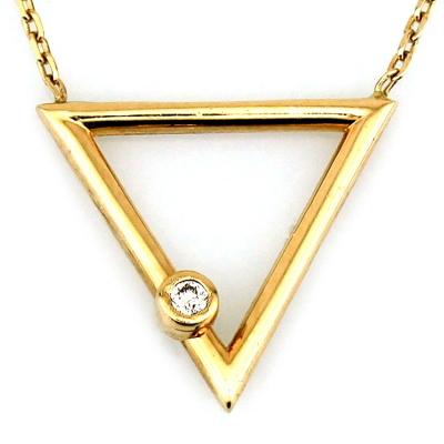 kuyumcunuznet - Geometrik Üçgen Altın Kolye (14 Ayar)