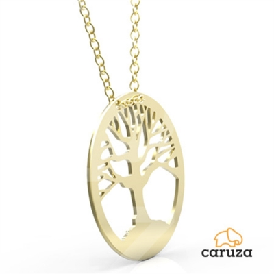 kuyumcunuznet - Hayat Ağacı Plaka Altın Kolye (14 Ayar)