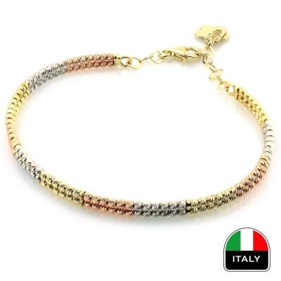 kuyumcunuznet - İkili Altın İtalyan Bilezik Kelepçe (14 Ayar)