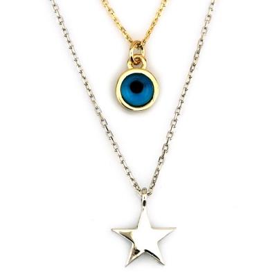 kuyumcunuznet - İkili Gözlü Yıldızlı Altın Kolye (14 Ayar)
