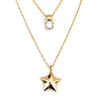 kuyumcunuznet - İkili Yıldız Tektaş Altın Kolye (14 Ayar)