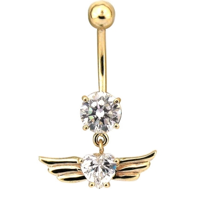 - Kanatlı Taşlı Altın Göbek Piercing (14 Ayar)