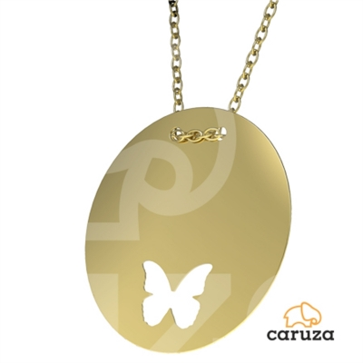 kuyumcunuznet - Kelebek Plaka Altın Kolye (14 Ayar)
