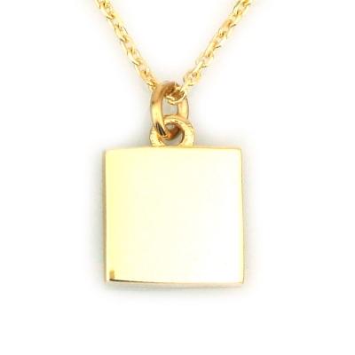 - Küçük Altın Kare Plaka Kolye (14 Ayar)