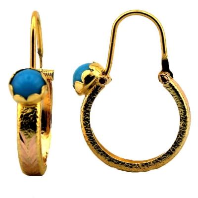 kuyumcunuznet - Mavi Taşlı Desenli Altın Bebek Küpesi (8 Ayar)