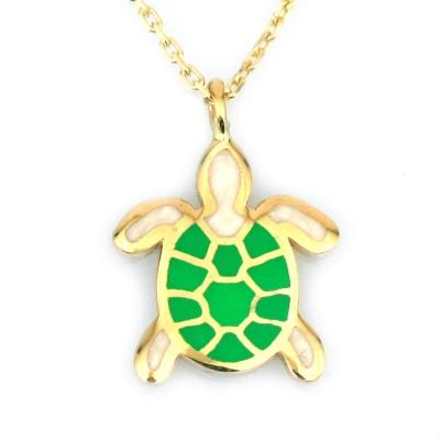 kuyumcunuznet - Mineli Kaplumbağa Altın Kolye (14 Ayar)