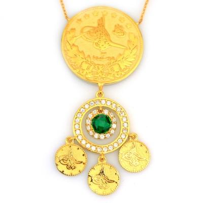 - Modern Taşlı Altın Osmanlı Tuğrası Kolye (14 Ayar)