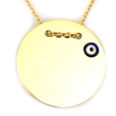 kuyumcunuznet - Nazarlı Plaka Altın Kolye (14 Ayar)