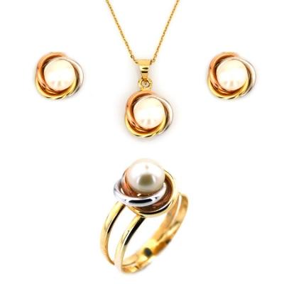 - Olimpiyat Model Altın İnci Takım Set (14 Ayar)
