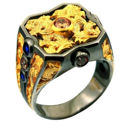 kuyumcunuznet - Özel Gösterişli El İşi Şovalye Erkek Yüzüğü (14 Ayar)