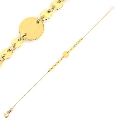- Plakalı Pullu Altın Künye Bileklik (14 Ayar)