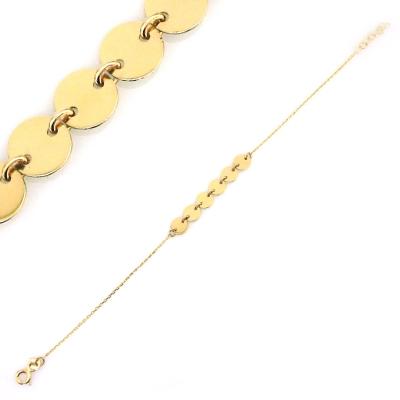 kuyumcunuznet - Pullu Altın Plakalı Künye Bileklik (14 Ayar)