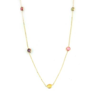 kuyumcunuznet - Renkli Taşlı Altın Zincir (14 Ayar)