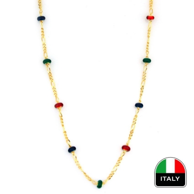 - Renkli Taşlı İtalyan Altın Zincir (14 Ayar)