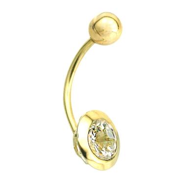 kuyumcunuznet - Sade Taşlı Altın Göbek Piercing (14 Ayar)