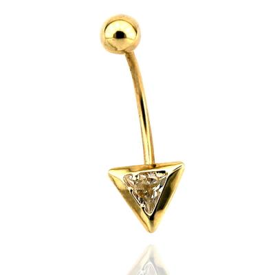 kuyumcunuznet - Sade Üçgen Altın Göbek Piercing (14 Ayar)