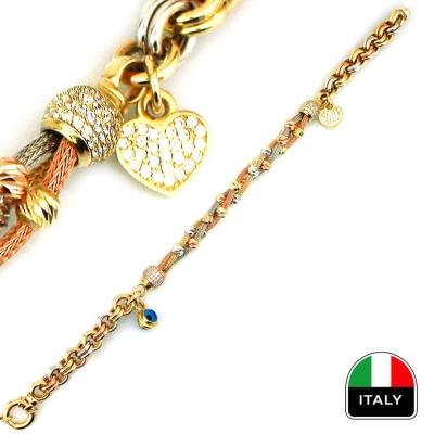 - Sallantılı Üç Renk İtalyan Altın Bileklik Künye (14 Ayar)