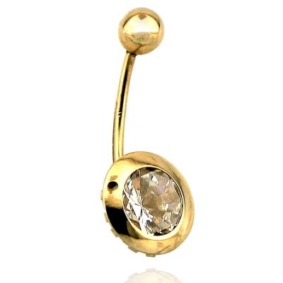 kuyumcunuznet - Sıvama Taşlı Altın Göbek Piercing (14 Ayar)
