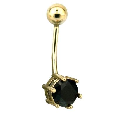 kuyumcunuznet - Siyah Taşlı Altın Piercing (14 Ayar)