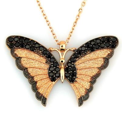 kuyumcunuznet - Siyah Taşlı Kelebek Altın Kolye (14 Ayar)