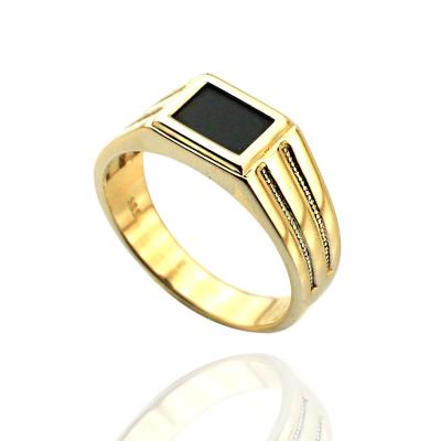 kuyumcunuznet - Siyah Taşlı Modern Altın Erkek Yüzüğü (14 Ayar)
