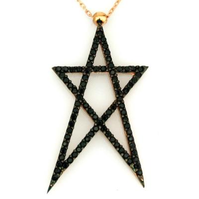 - Tasarım Özel Siyah Taşlı Altın Yıldız Kolye (14 Ayar)