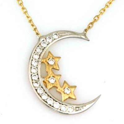 kuyumcunuznet - Taşlı Altın Ay Yıldız Kolye (8 Ayar)